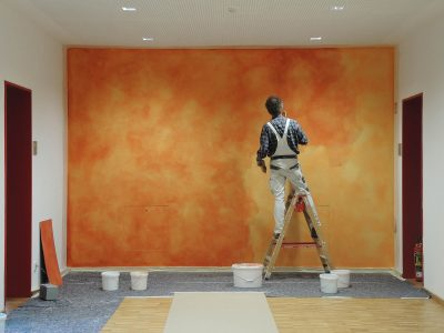 Farbkonzept mit Lasur, Schule Ilmer Barg, Orange (Work in Progress)